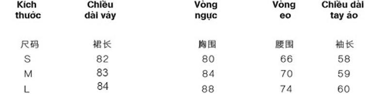 Bảng dịch size váy dài của Trung Quốc